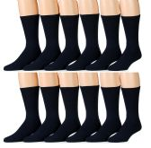 12 Pairs of Excell Mens Diabetic Neuropathy Edema Marled Crew Socks - Men's Diabetic Socks