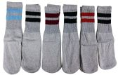 6 Pairs of excell Children's Striped Cotton Tube Socks Grey Stripes, Referee Style, Boys Girls, Size 6-8 - Boys Crew Sock