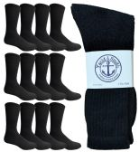 12 Units of 12 Pairs of WSD Mens Cotton Crew Socks, Solid, Athletic (Black) - Mens Crew Socks