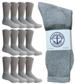 12 Pairs of WSD Mens Cotton Crew Socks, Solid, Athletic