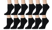 Women's Low Cut Socks Cotton No Show Ankle Socks (12 Pairs - Many Styles) (Black w/ Gray Heel) - Womens Ankle Sock