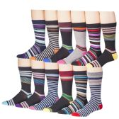 12 Pairs Of excell Mens Fashion Designer Striped Color Dress Socks 2800 Series