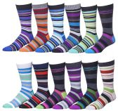 12 Pairs of excell Mens Colorful Designer Dress Socks, Cotton Blend (Pack D)