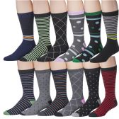 12 Pairs of excell Mens Colorful Designer Dress Socks, Cotton Blend (Pack F)