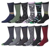 12 Pairs of excell Mens Fashion Designer Dress Socks, Cotton Blend (3100)