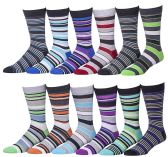 12 Pairs Of Mens excell Fashion Striped Designer Cotton Dress Socks - Mens Dress Sock