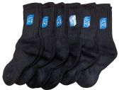 6 Pairs of excell Childrens Merino Wool Socks, Black, Mens Womens, Sock Size 6-8,shoe size 7.5 - 4 - Girls Crew Socks
