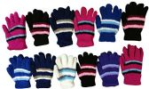 12 Pair Pack Of excell Kids Warm Winter Colorful Magic Stretch Gloves (396) - Magic Acrylic Gloves