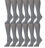 12 Pairs of excell Girls Knee High Socks, Solid Colors (Gray)