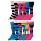 12 Pairs of mod & tone Women's Argyle Striped Knee High Socks, #418 - Womens Knee Highs