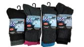 4 Pairs of excell Women's Casual Thermal Crew Socks Assorted Colors, Size 9-11