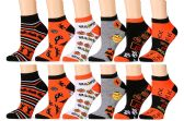 12 Pairs Of excell Womans Halloween Design Printed Ankle Socks - Womens Ankle Sock