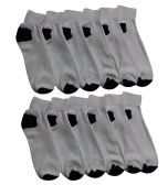 12 Pairs of Men's Quarter Length Low Cut Ankle Socks, Cotton (White with black heel and toes) - Mens Ankle Sock