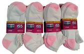 12 Pack excell Womens White No Show Socks, Terry Sole Super Soft (White & Pink) - Womens Ankle Sock