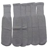 6 Pairs of excell Children's Cotton Tube Socks Grey, Referee Style, Boys Girls, Size 6-8 - Boys Crew Sock