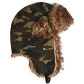 excell Brand Camo Mens Womens Nylon Russian/Trapper W/Soft Faux Fur Winter Hat