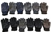 12 Pairs Of Mens excell Winter Heavy Knit Rubber Gripper Gloves - Ski Gloves