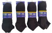 12 Pack Of excell Mens Black Quarter Length Terry Sole Super Soft Ankle Socks - Mens Ankle Sock