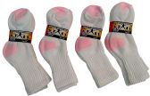 12 Pairs Of excell Girls Cotton White With Pink Color Ribbed Crew Socks