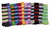 12 Pairs Of excell Women's Striped Neon Toe Socks, Size 9-11 #2003 - Womens Fuzzy Socks