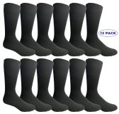 12 Units of Yacht & Smith Men's Executive Dress Series Black Dress Socks Cotton Blend Size 10-13 - Mens Dress Sock