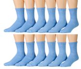 12 Pairs of Womens Blue excell Diabetic Crew Socks, Cotton Socks Shoe size 5-10 sock size 9-11 - Diabetic Socks