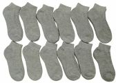 12 Pairs of Children's Ankle Socks, Low Cut, Quarter Length, Boys Girls, Cotton (4-6,Gray)