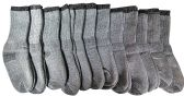 12 Pairs of excell Childrens Mens Womens Merino Wool Socks, Gray, Sock Size 6-8 - Boys Crew Sock