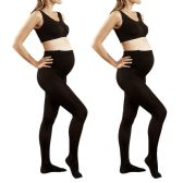 2 Pack of Mod & Tone Maternity Microfiber Opaque Tights, Wide Waist Band (Q1/Q2, Black) - Womens Tights