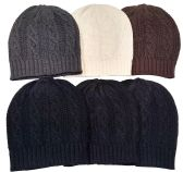 6 Piece Ladies Warm Fashion Cable Knit Winter Beanie