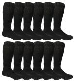 12 Pairs of excell Mens Slouch Socks Black, Sock Size 10-13 - Mens Crew Socks