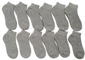 12 Pairs of Children's Ankle Socks, Low Cut, Quarter Length, Boys Girls, Cotton (6-8, Gray)