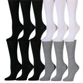 12 Pairs of WSD Womens Knee High Socks Assorted Colors, Cotton Boot Socks (Assorted (Black/White/Gray)) - Womens Knee Highs
