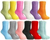 12 Units of Yacht & Smith Women's Solid Colored Fuzzy Socks Assorted Colors, Size 9-11 - Womens Fuzzy Socks