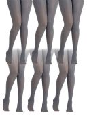 6 Pack of Mod & Tone Maternity Microfiber Opaque Tights, Wide Waist Band (L/XL, Gray with Black Top) - Womens Tights