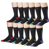 12 Pairs Of Mens excell Race Stripe Fashion Designer Cotton Dress Socks - Mens Dress Sock