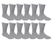 6 Pairs of Men's excell Diabetic Crew Socks, Ringspun Cotton, Neurpathy Edema Socks (Gray) - Men's Diabetic Socks