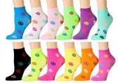12 Pairs of WSD Womens Ankle Socks, Cotton No Show, Many Colorful Patterns (Pack N) - Womens Ankle Sock