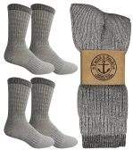 4 Pairs of Excell Mens Merino Wool Socks for Hiking, Camping, Backpacking (10-13, Gray) - Mens Thermal Sock