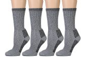 4 Pairs of Excell Womens Merino Wool Socks for Hiking, Camping, Backpacking (9-11, Gray) - Boys Crew Sock