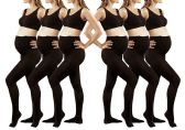6 Pack of Mod & Tone Maternity Microfiber Opaque Tights, Wide Waist Band (Q1/Q2, Black) - Womens Tights