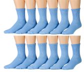 12 Pairs of excell Womens Diabetic Crew Socks Ringspun Cotton For Neuropathy Edema (Blue) - Women's Diabetic Socks