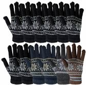 12 Pair Of MB55 Mens Womens Design Winter Gloves, Stretchy and Warm - Magic Acrylic Gloves