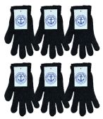 6 Pairs of excell Black Magic Gloves, Mens Womens - Magic Acrylic Gloves