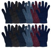 12 Units of Yacht & Smith Mens Winter Stretch Gloves, Assorted Colors Cold Weather Resistant Thermal Wear - Knitted Stretch Gloves