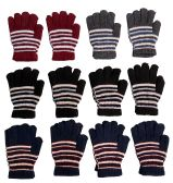 12 Pairs Of Womens Stripe Knit Warm Fashion Winter Gloves - Magic Acrylic Gloves