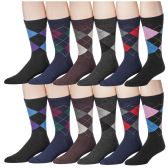 12 Pairs of Excell Men's Designer Pattern Dress Socks, Cotton Blend - Mens Dress Sock