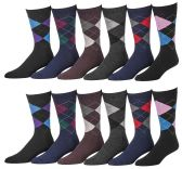 12 Pairs of excell Mens Fashion Designer Dress Socks, Cotton Blend (1912) - Mens Dress Sock
