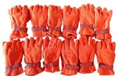 12 Pairs Of excell Orange Fleece Winter Gloves, Hunting Gloves - Winter Gloves