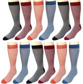 Excell Men's Premium Crew Socks, Vicose Bamboo (Assorted Colorful (12 Pairs)) - Mens Crew Socks